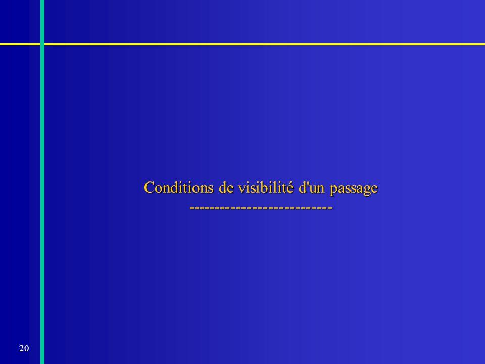 20 Conditions de visibilité d'un passage ---------------------------