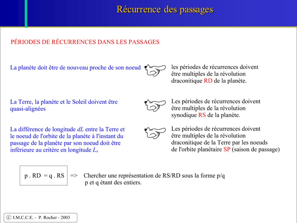 26 Récurrence des passages