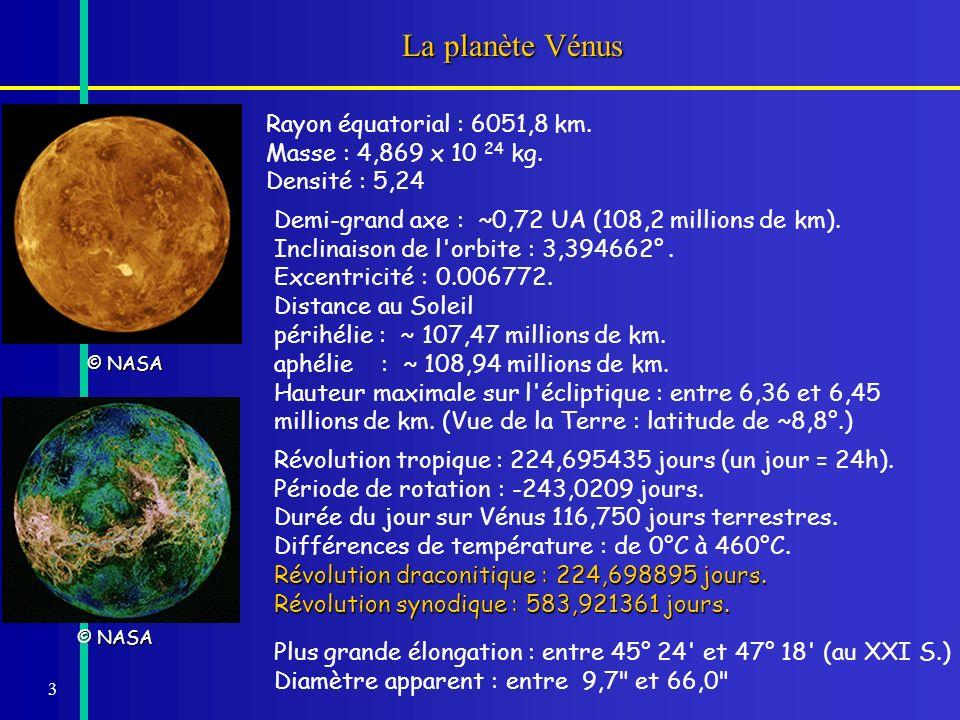 3 La planète Vénus Demi-grand axe : ~0,72 UA (108,2 millions de km). Inclinaison de l'orbite : 3,394662°. Excentricité : 0.006772. Distance au Soleil