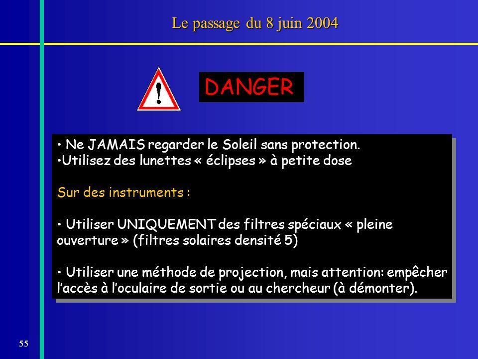 55 Le passage du 8 juin 2004 Ne JAMAIS regarder le Soleil sans protection. Utilisez des lunettes « éclipses » à petite dose Sur des instruments : Util