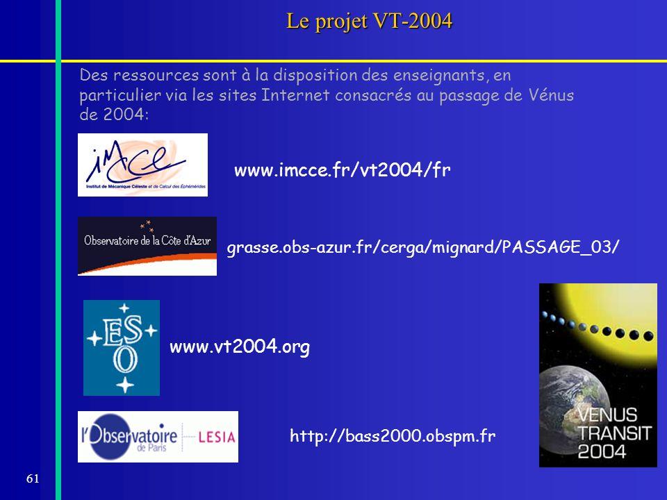 61 Le projet VT-2004 Des ressources sont à la disposition des enseignants, en particulier via les sites Internet consacrés au passage de Vénus de 2004