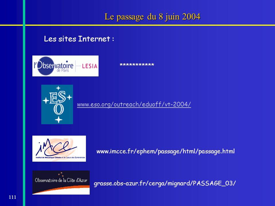 111 Le passage du 8 juin 2004 Les sites Internet : *********** www.eso.org/outreach/eduoff/vt-2004/ www.imcce.fr/ephem/passage/html/passage.html grass