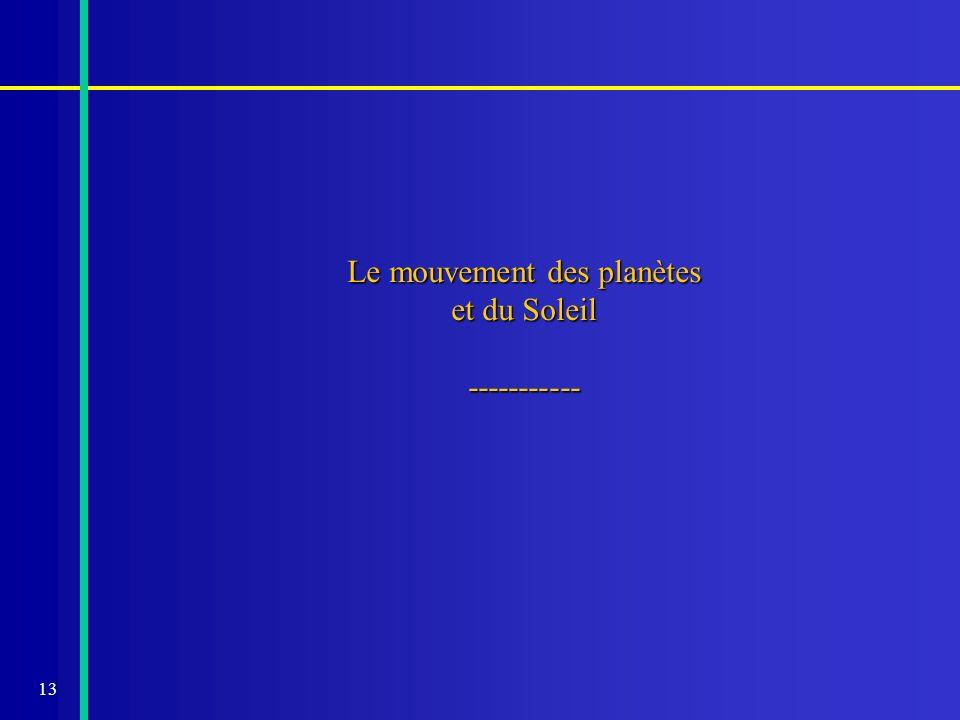 13 Le mouvement des planètes et du Soleil -----------