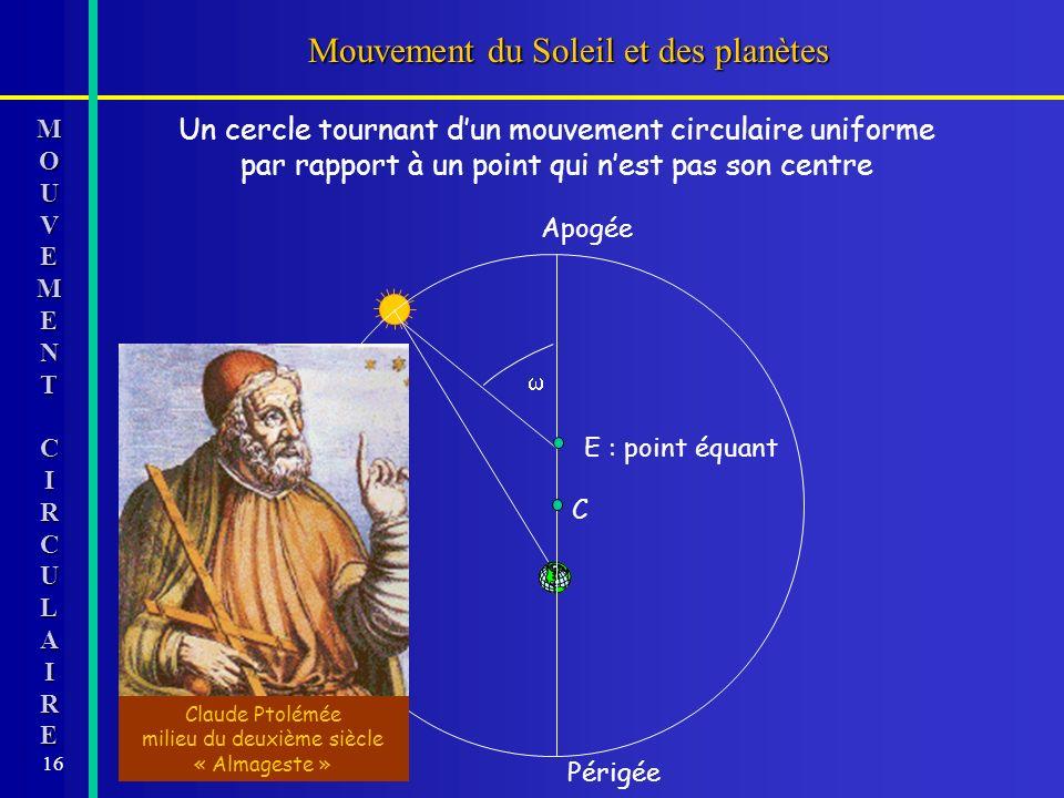 16 Mouvement du Soleil et des planètes MOMOUUVVEEMMEENNTTCCIIRRCCUULLAAIIRREEMOMOUUVVEEMMEENNTTCCIIRRCCUULLAAIIRREEUVEMENTCIRCULAIRE Un cercle tournan