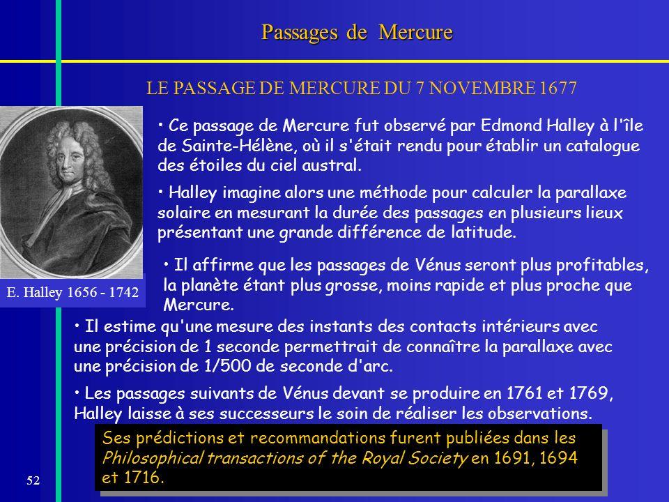 52 Passages de Mercure LE PASSAGE DE MERCURE DU 7 NOVEMBRE 1677 E. Halley 1656 - 1742 Ses prédictions et recommandations furent publiées dans les Phil