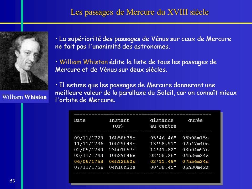 53 Les passages de Mercure du XVIII siècle La supériorité des passages de Vénus sur ceux de Mercure ne fait pas l'unanimité des astronomes. William Wh
