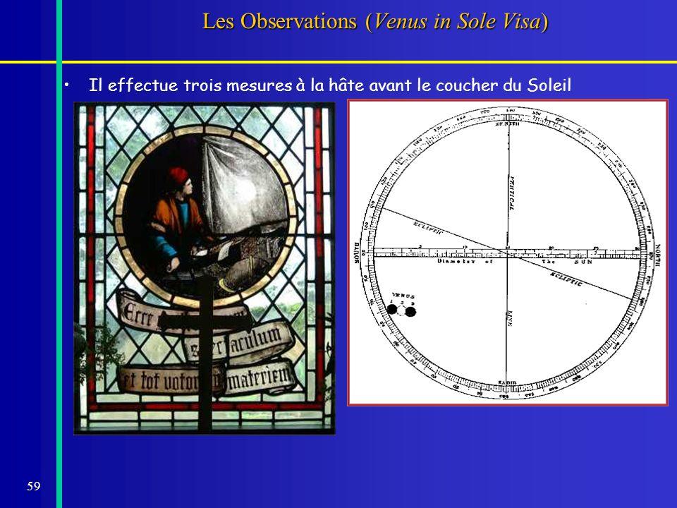59 Les Observations (Venus in Sole Visa) Il effectue trois mesures à la hâte avant le coucher du Soleil tdistance (