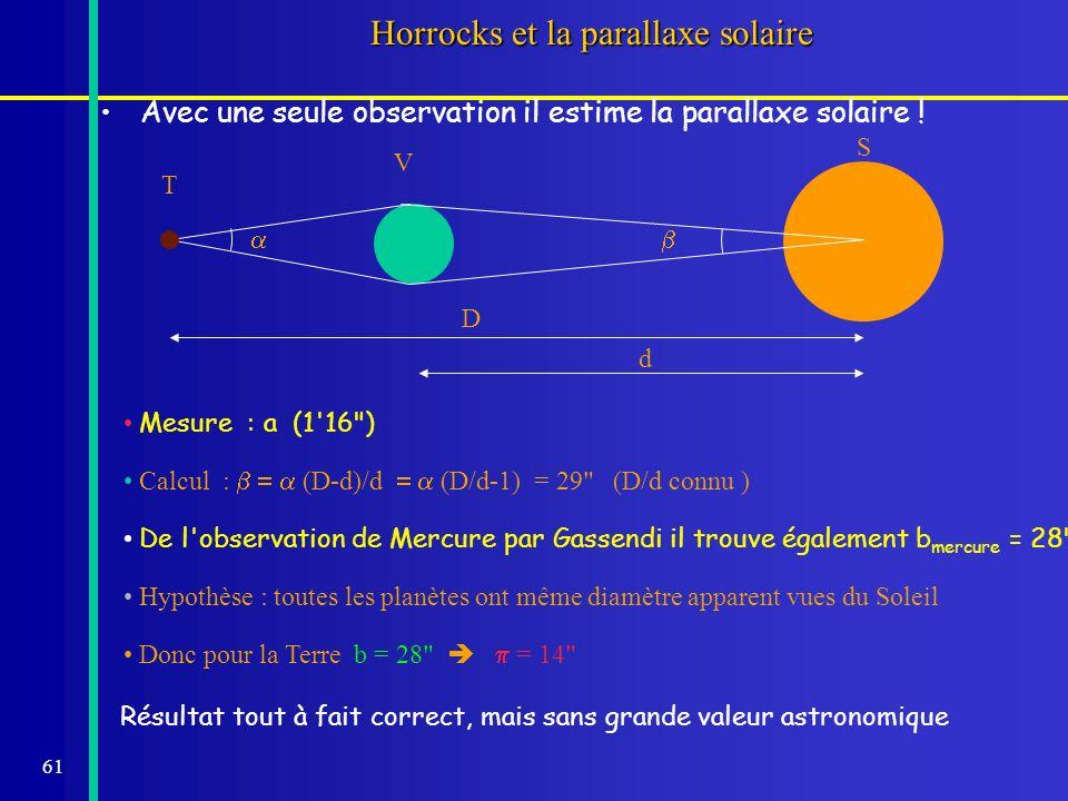 61 Horrocks et la parallaxe solaire Avec une seule observation il estime la parallaxe solaire ! Mesure : a (1'16