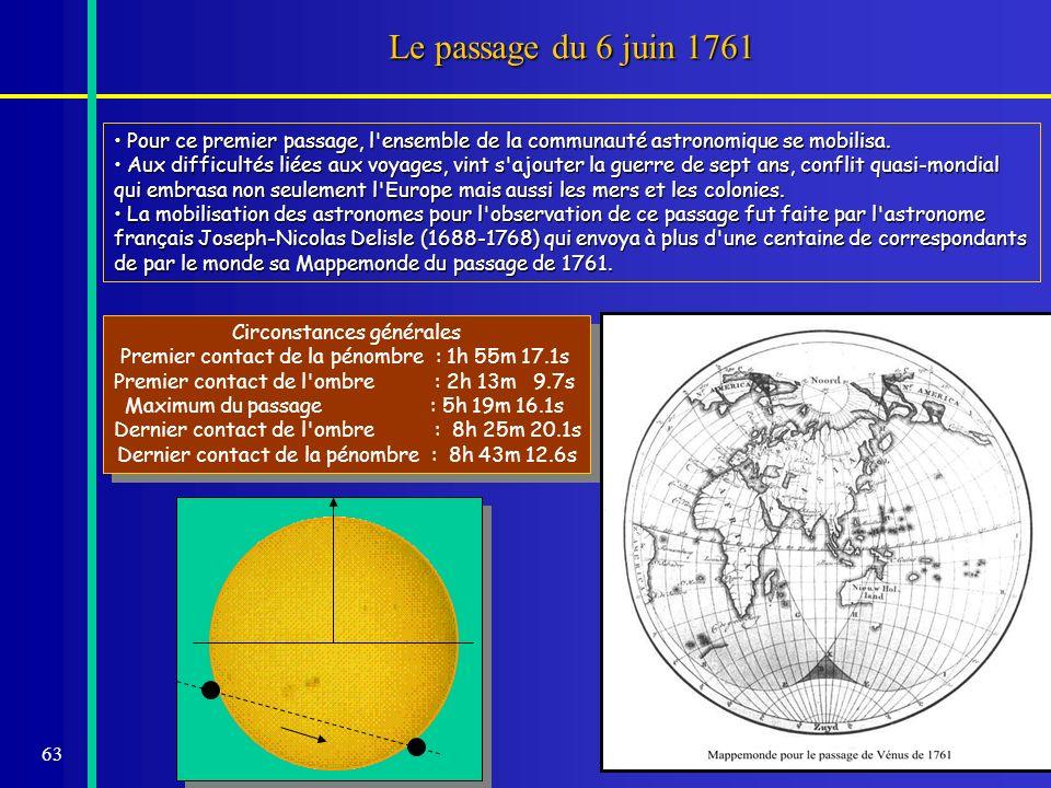 63 Le passage du 6 juin 1761 Pour ce premier passage, l'ensemble de la communauté astronomique se mobilisa. Pour ce premier passage, l'ensemble de la