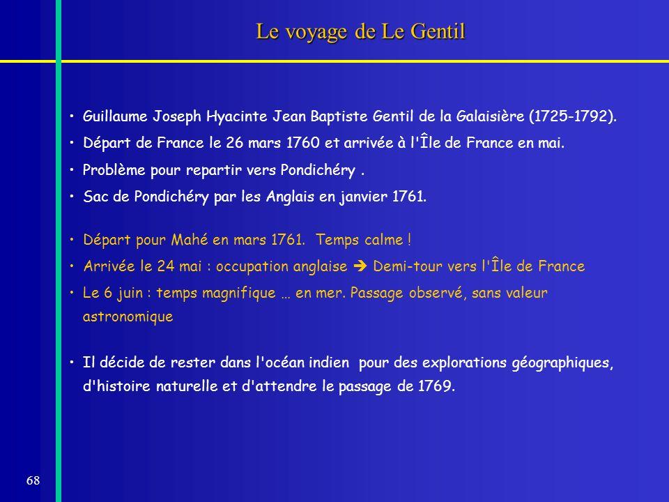 68 Le voyage de Le Gentil Guillaume Joseph Hyacinte Jean Baptiste Gentil de la Galaisière (1725-1792). Départ de France le 26 mars 1760 et arrivée à l