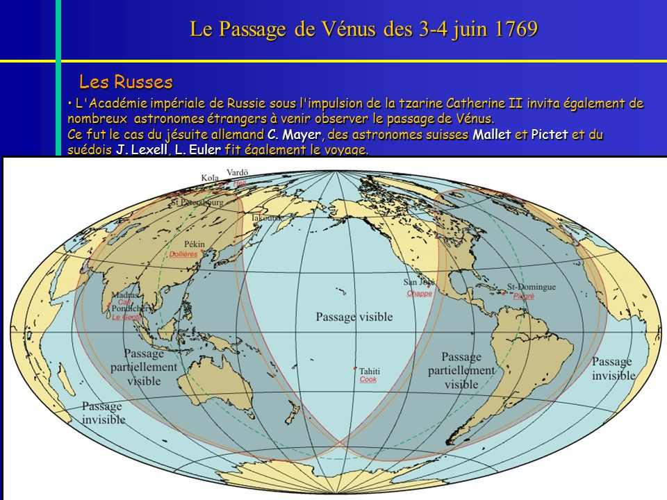 75 Le Passage de Vénus des 3-4 juin 1769 Les Russes L'Académie impériale de Russie sous l'impulsion de la tzarine Catherine II invita également de nom