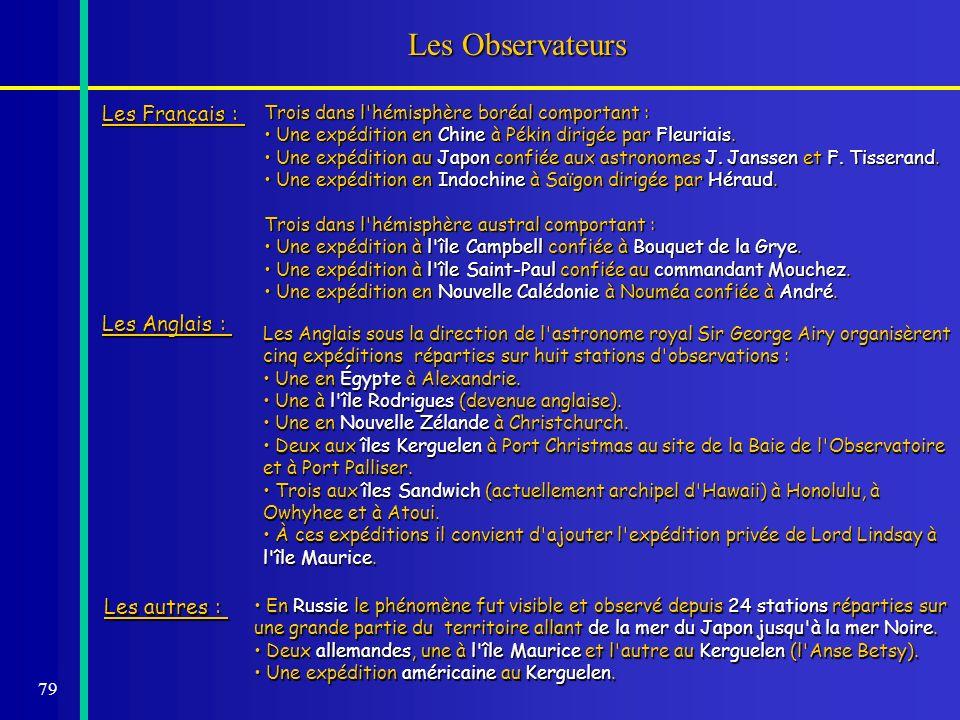 79 Les Observateurs Les Français : Trois dans l'hémisphère boréal comportant : Une expédition en Chine à Pékin dirigée par Fleuriais. Une expédition e