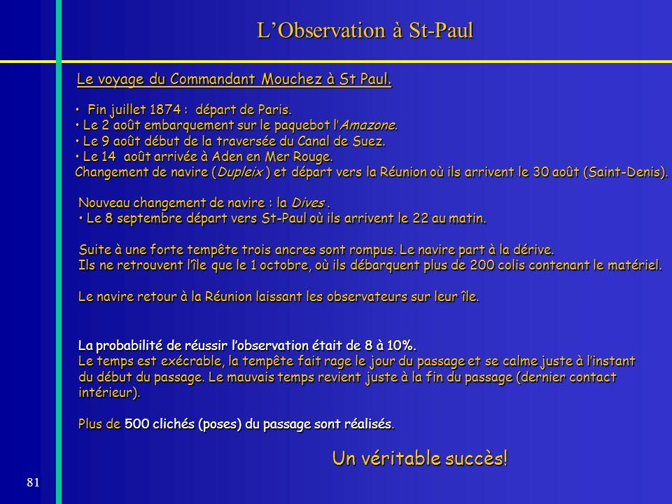81 LObservation à St-Paul Fin juillet 1874 : départ de Paris. Fin juillet 1874 : départ de Paris. Le 2 août embarquement sur le paquebot lAmazone. Le