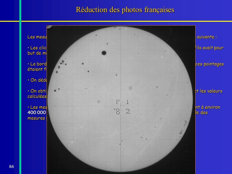 86 Réduction des photos françaises Les mesures des 1019 plaques des passages de 1882 ont été faites de la manière suivante : Les clichés étaient agran