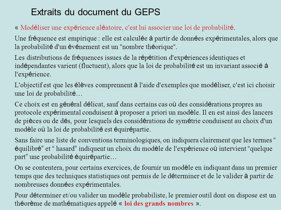 Extraits du document du GEPS « Mod é liser une exp é rience al é atoire, c'est lui associer une loi de probabilit é. Une fr é quence est empirique : e