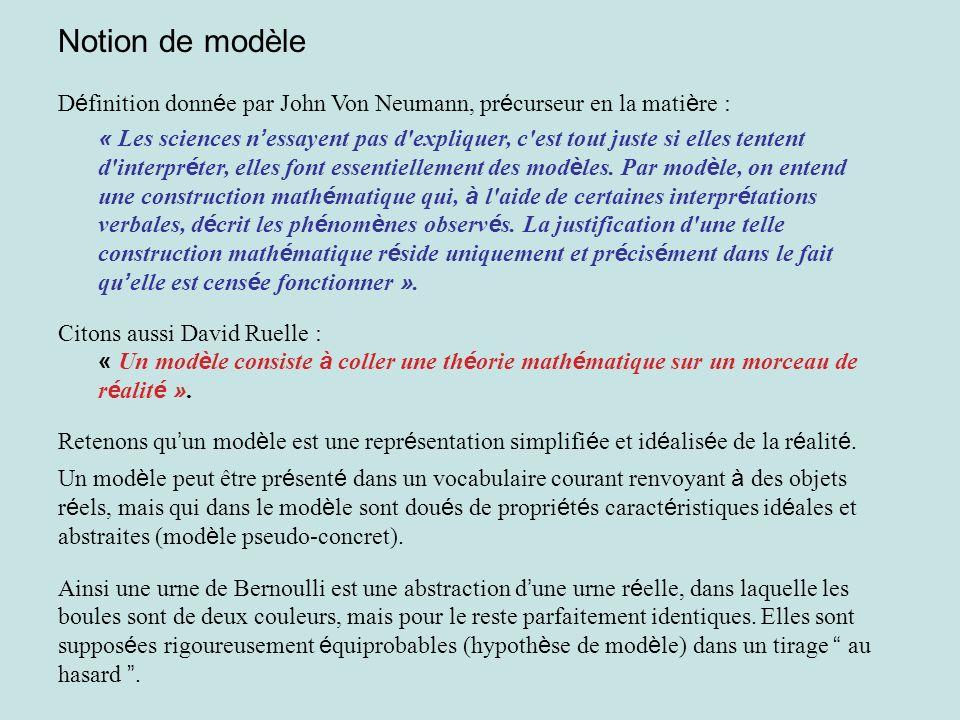 Notion de modèle D é finition donn é e par John Von Neumann, pr é curseur en la mati è re : « Les sciences n essayent pas d'expliquer, c'est tout just