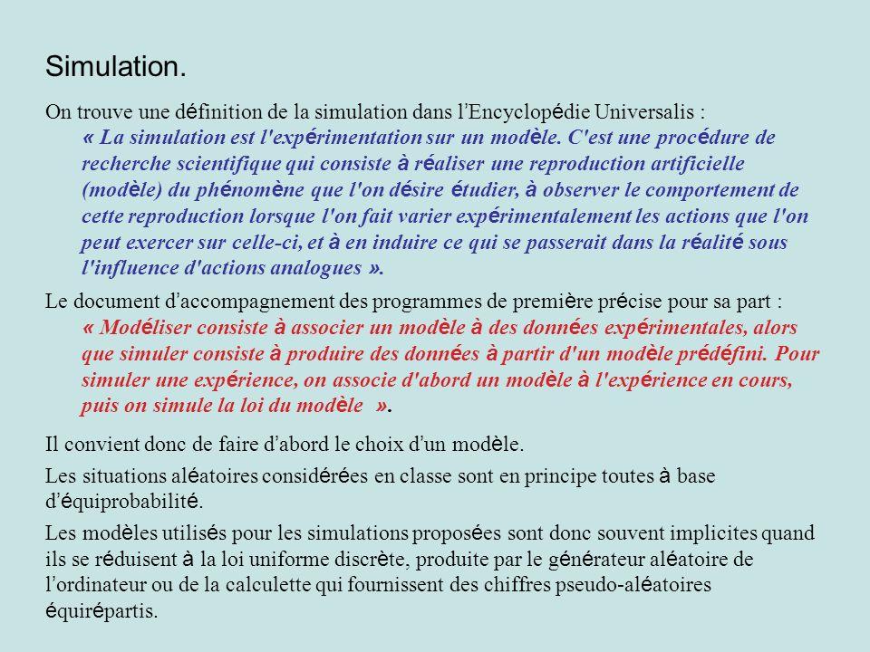Simulation. On trouve une d é finition de la simulation dans l Encyclop é die Universalis : « La simulation est l'exp é rimentation sur un mod è le. C