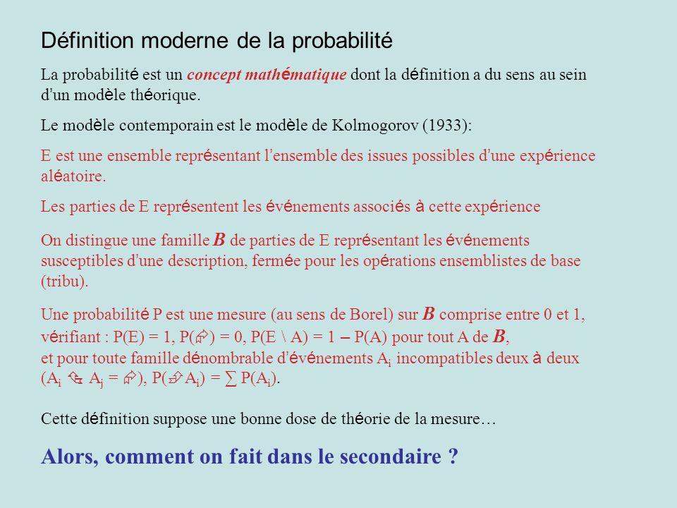Définition moderne de la probabilité La probabilit é est un concept math é matique dont la d é finition a du sens au sein d un mod è le th é orique. L