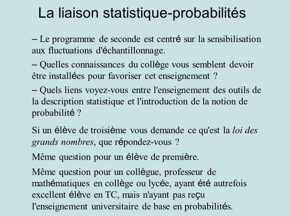 La liaison statistique-probabilités – Le programme de seconde est centr é sur la sensibilisation aux fluctuations d' é chantillonnage. – Quelles conna