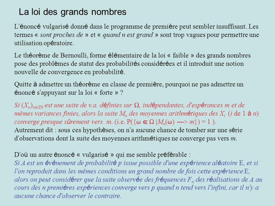 La loi des grands nombres L é nonc é vulgaris é donn é dans le programme de premi è re peut sembler insuffisant. Les termes « sont proches de » et « q