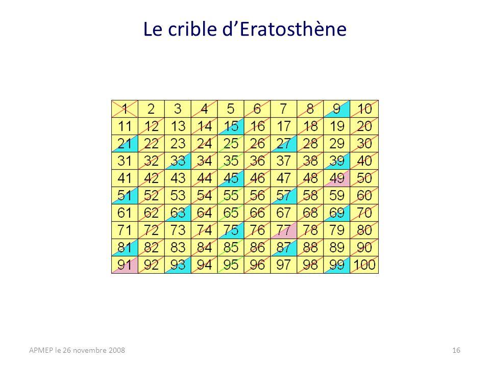 Le crible dEratosthène APMEP le 26 novembre 200816