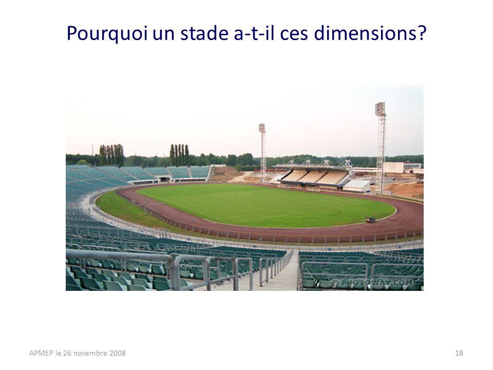 Pourquoi un stade a-t-il ces dimensions APMEP le 26 novembre 200818
