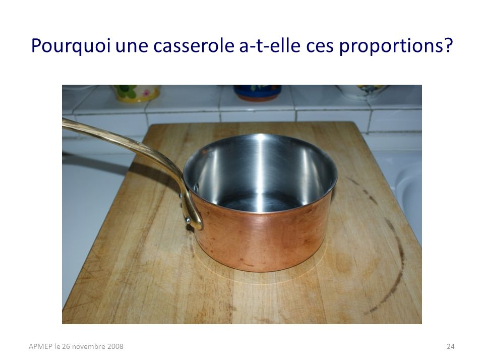 Pourquoi une casserole a-t-elle ces proportions APMEP le 26 novembre 200824