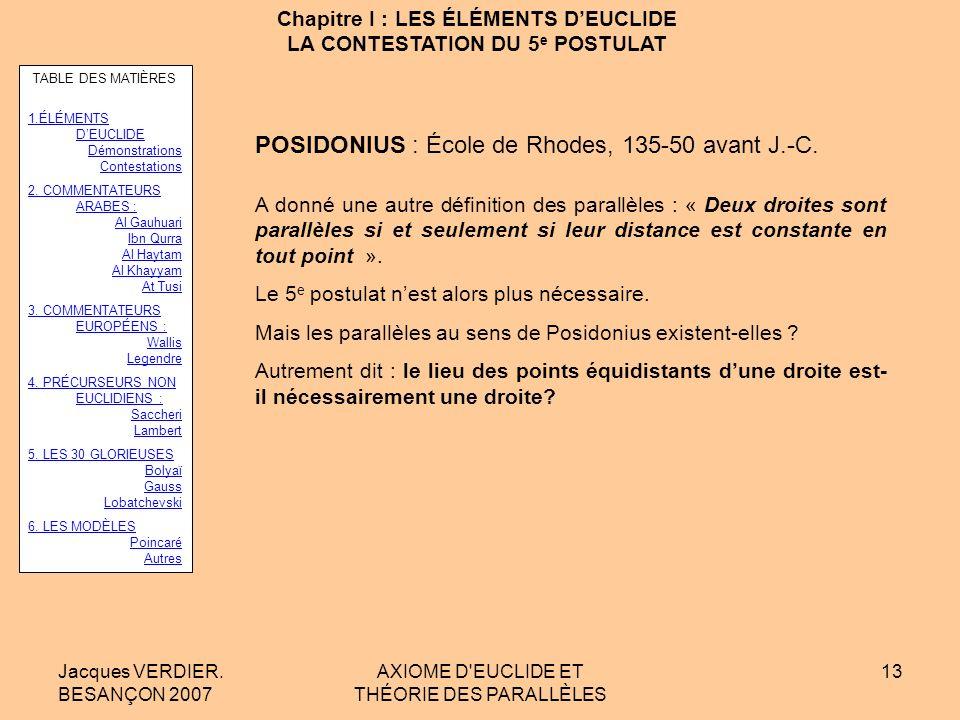 Jacques VERDIER. BESANÇON 2007 AXIOME D'EUCLIDE ET THÉORIE DES PARALLÈLES 12 Chapitre I : LES ÉLÉMENTS DEUCLIDE LA CONTESTATION DU 5 e POSTULAT Le 5 e