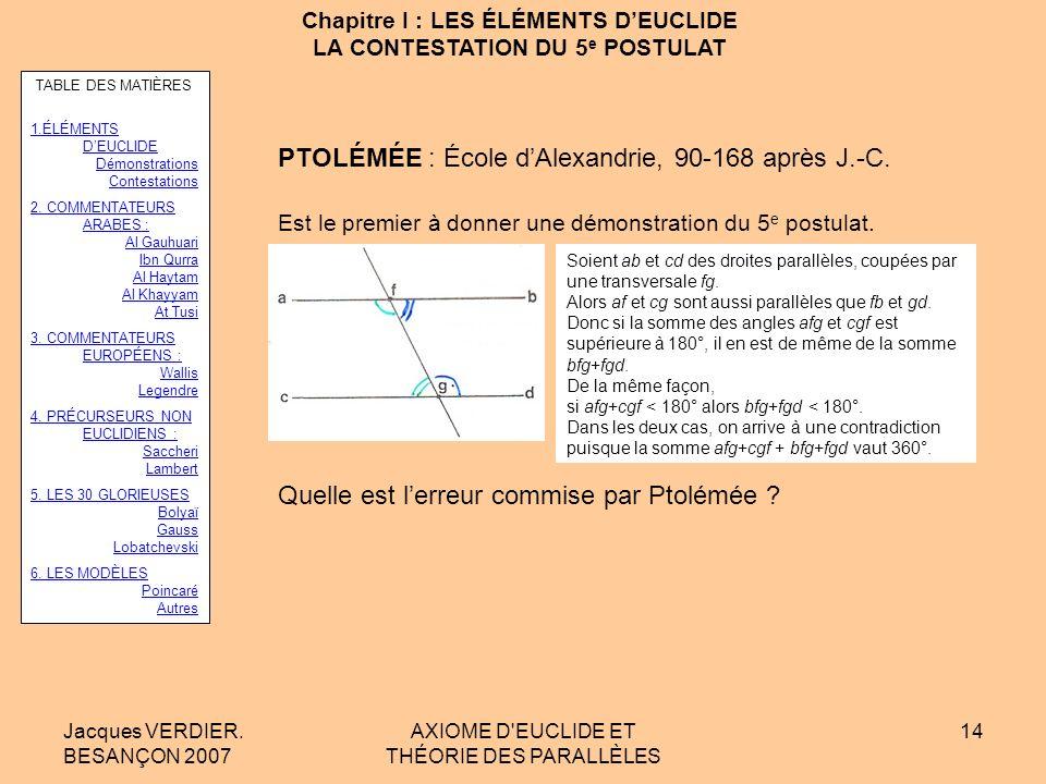 Jacques VERDIER. BESANÇON 2007 AXIOME D'EUCLIDE ET THÉORIE DES PARALLÈLES 13 Chapitre I : LES ÉLÉMENTS DEUCLIDE LA CONTESTATION DU 5 e POSTULAT POSIDO
