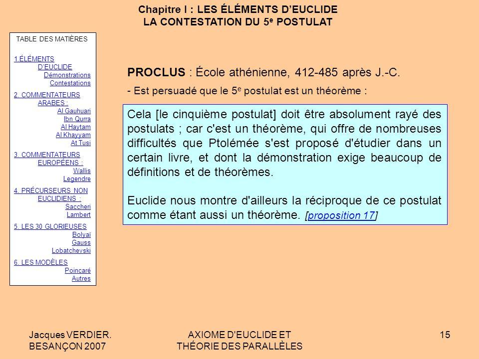 Jacques VERDIER. BESANÇON 2007 AXIOME D'EUCLIDE ET THÉORIE DES PARALLÈLES 14 Chapitre I : LES ÉLÉMENTS DEUCLIDE LA CONTESTATION DU 5 e POSTULAT PTOLÉM