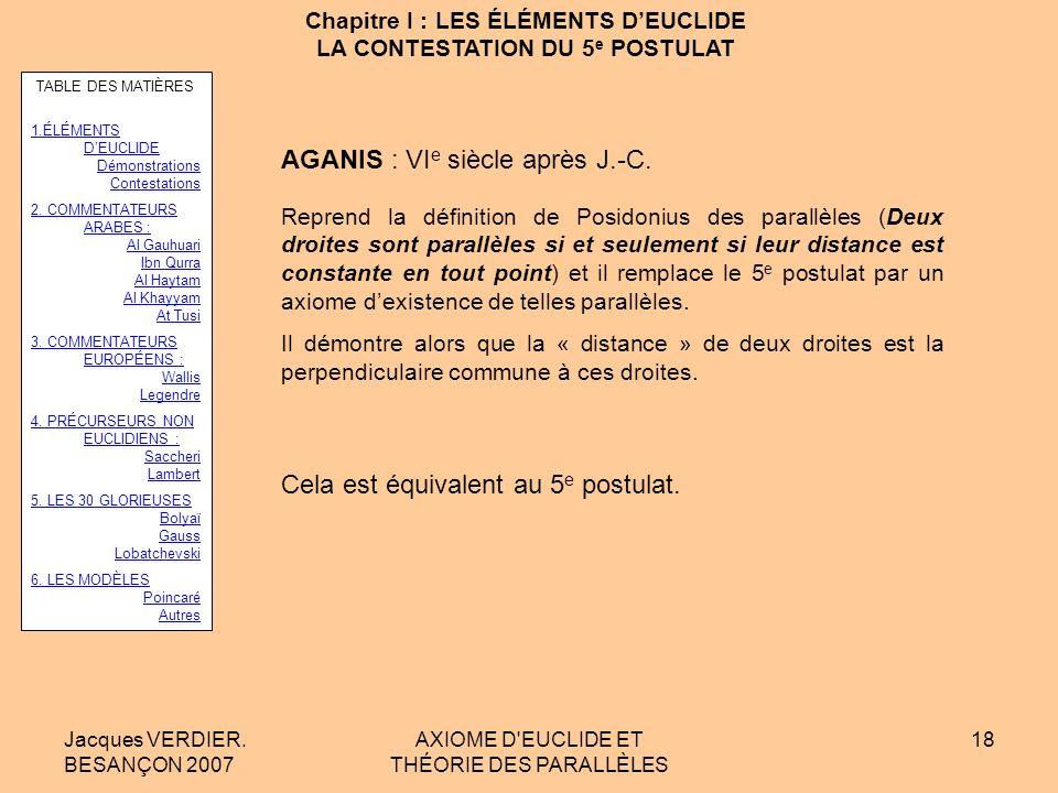 Jacques VERDIER. BESANÇON 2007 AXIOME D'EUCLIDE ET THÉORIE DES PARALLÈLES 17 Chapitre I : LES ÉLÉMENTS DEUCLIDE LA CONTESTATION DU 5 e POSTULAT PROCLU