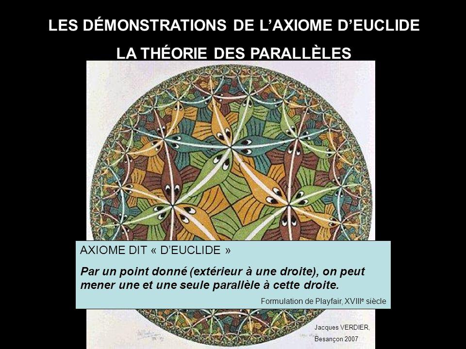 Jacques VERDIER. BESANÇON 2007 AXIOME D'EUCLIDE ET THÉORIE DES PARALLÈLES 1 Mise au point vidéo projecteur.