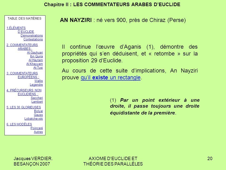 Jacques VERDIER. BESANÇON 2007 AXIOME D'EUCLIDE ET THÉORIE DES PARALLÈLES 19 Chapitre II : LES COMMENTATEURS ARABES DEUCLIDE AL GAUHUARI : IX e siècle