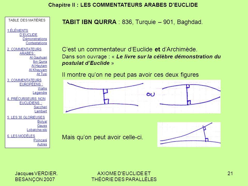 Jacques VERDIER. BESANÇON 2007 AXIOME D'EUCLIDE ET THÉORIE DES PARALLÈLES 20 Chapitre II : LES COMMENTATEURS ARABES DEUCLIDE AN NAYZIRI : né vers 900,