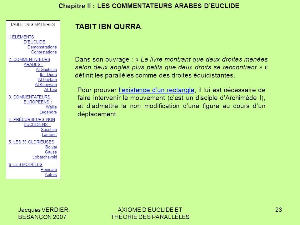 Jacques VERDIER. BESANÇON 2007 AXIOME D'EUCLIDE ET THÉORIE DES PARALLÈLES 22 Chapitre II : LES COMMENTATEURS ARABES DEUCLIDE TABIT IBN QURRA. Si une s