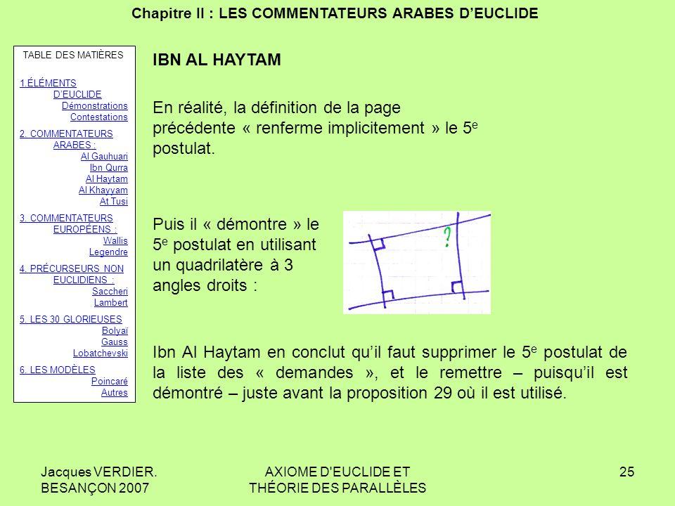 Jacques VERDIER. BESANÇON 2007 AXIOME D'EUCLIDE ET THÉORIE DES PARALLÈLES 24 Chapitre II : LES COMMENTATEURS ARABES DEUCLIDE IBN AL HAYTAM AL HAZEN :