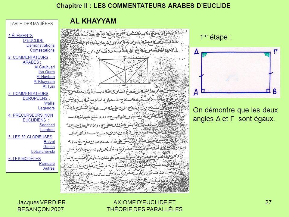 Jacques VERDIER. BESANÇON 2007 AXIOME D'EUCLIDE ET THÉORIE DES PARALLÈLES 26 Chapitre II : LES COMMENTATEURS ARABES DEUCLIDE Umar al KHAYYAM : 1047-11