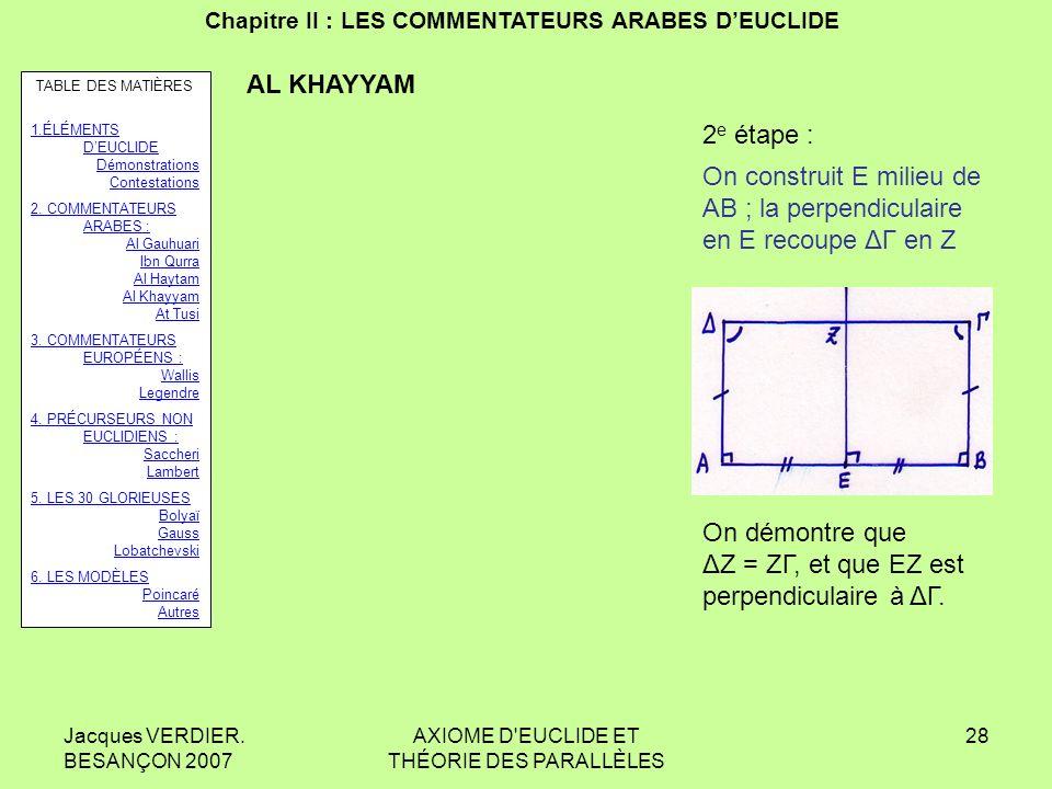 Jacques VERDIER. BESANÇON 2007 AXIOME D'EUCLIDE ET THÉORIE DES PARALLÈLES 27 Chapitre II : LES COMMENTATEURS ARABES DEUCLIDE AL KHAYYAM 1 re étape : O