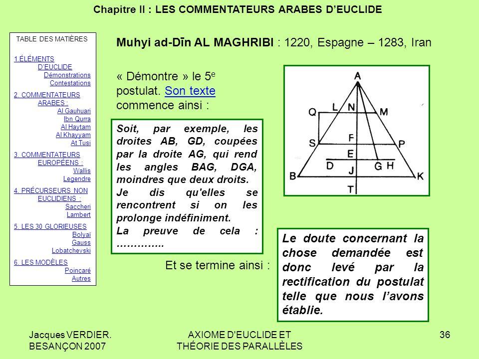 Jacques VERDIER. BESANÇON 2007 AXIOME D'EUCLIDE ET THÉORIE DES PARALLÈLES 35 Chapitre II : LES COMMENTATEURS ARABES DEUCLIDE AŢ Ţ USI Sa 6 e propositi