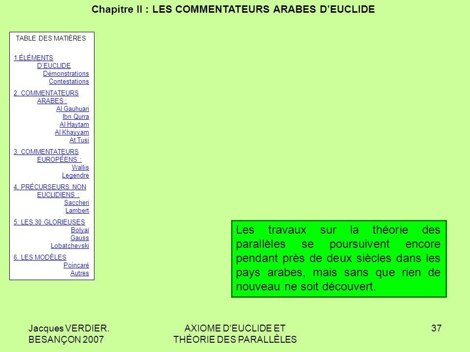 Jacques VERDIER. BESANÇON 2007 AXIOME D'EUCLIDE ET THÉORIE DES PARALLÈLES 36 Chapitre II : LES COMMENTATEURS ARABES DEUCLIDE Muhyi ad-Dīn AL MAGHRIBI