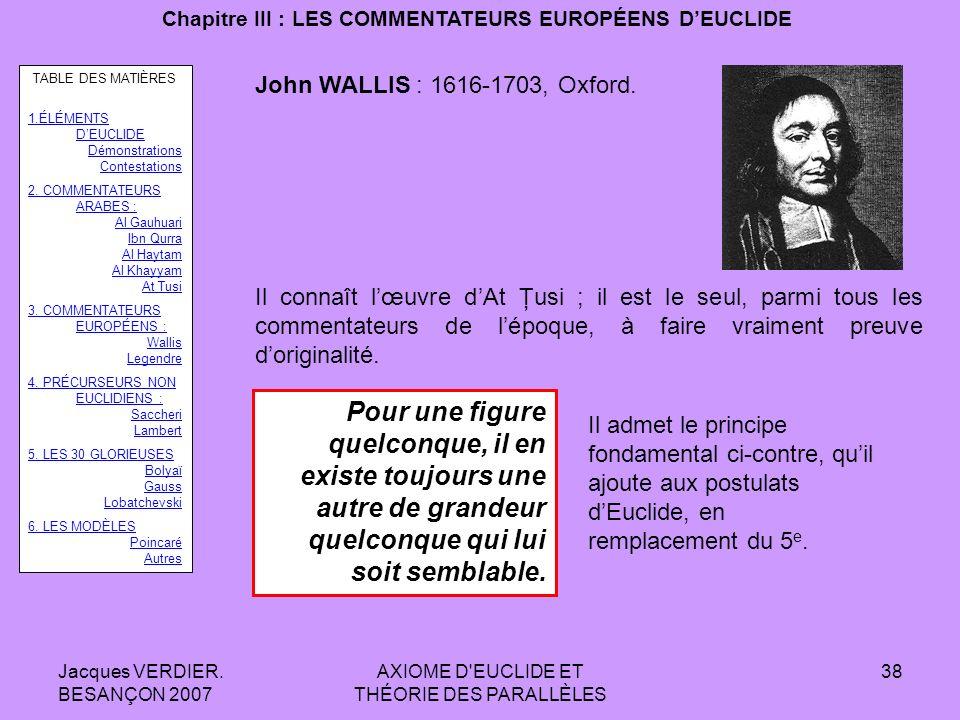 Jacques VERDIER. BESANÇON 2007 AXIOME D'EUCLIDE ET THÉORIE DES PARALLÈLES 37 Chapitre II : LES COMMENTATEURS ARABES DEUCLIDE Les travaux sur la théori
