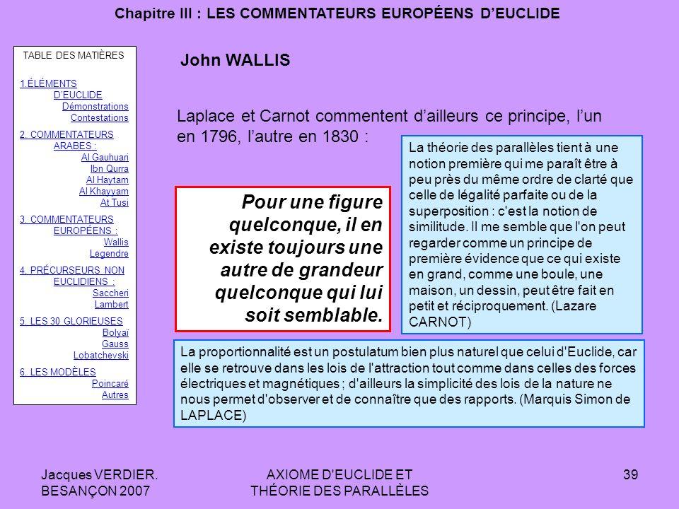 Jacques VERDIER. BESANÇON 2007 AXIOME D'EUCLIDE ET THÉORIE DES PARALLÈLES 38 Chapitre III : LES COMMENTATEURS EUROPÉENS DEUCLIDE John WALLIS : 1616-17