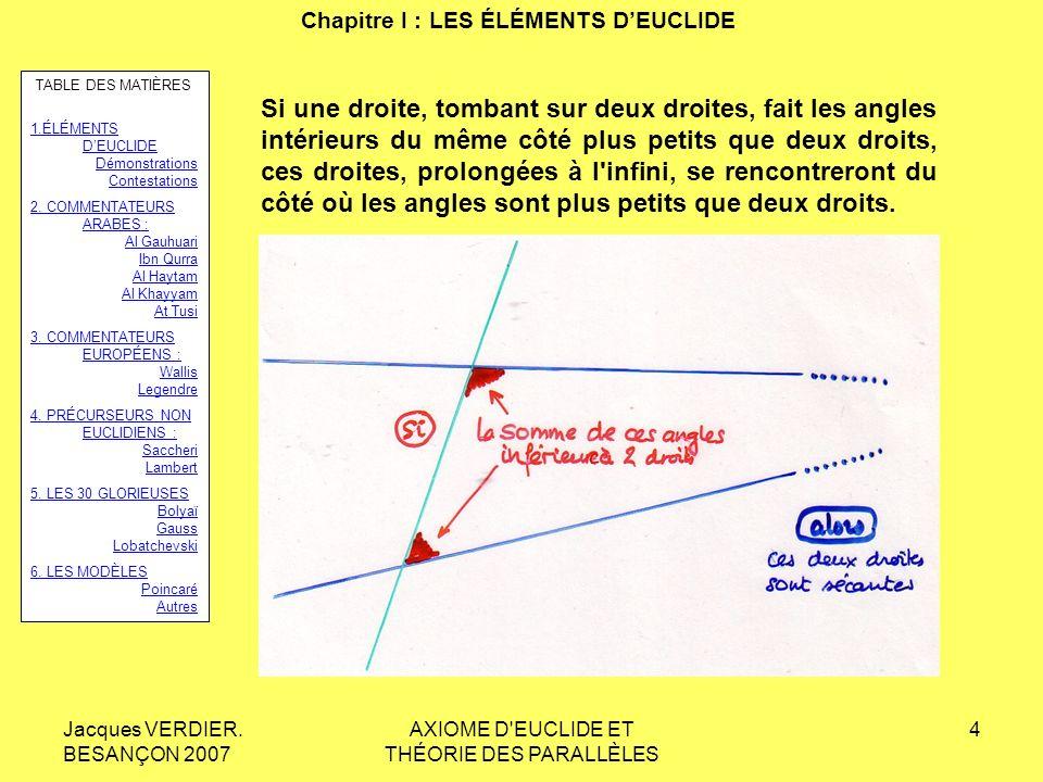 Jacques VERDIER. BESANÇON 2007 AXIOME D'EUCLIDE ET THÉORIE DES PARALLÈLES 3 Chapitre I : LES ÉLÉMENTS DEUCLIDE Les éléments dEuclide : 10 « livres »,