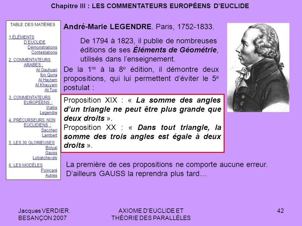 Jacques VERDIER. BESANÇON 2007 AXIOME D'EUCLIDE ET THÉORIE DES PARALLÈLES 41 Chapitre III : LES COMMENTATEURS EUROPÉENS DEUCLIDE John WALLIS Démonstra
