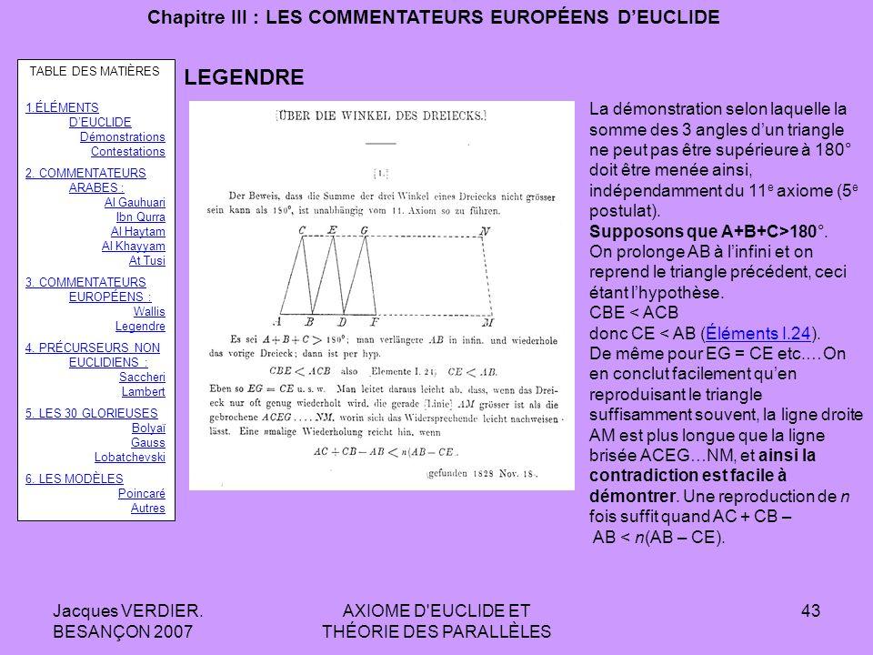 Jacques VERDIER. BESANÇON 2007 AXIOME D'EUCLIDE ET THÉORIE DES PARALLÈLES 42 Chapitre III : LES COMMENTATEURS EUROPÉENS DEUCLIDE André-Marie LEGENDRE.