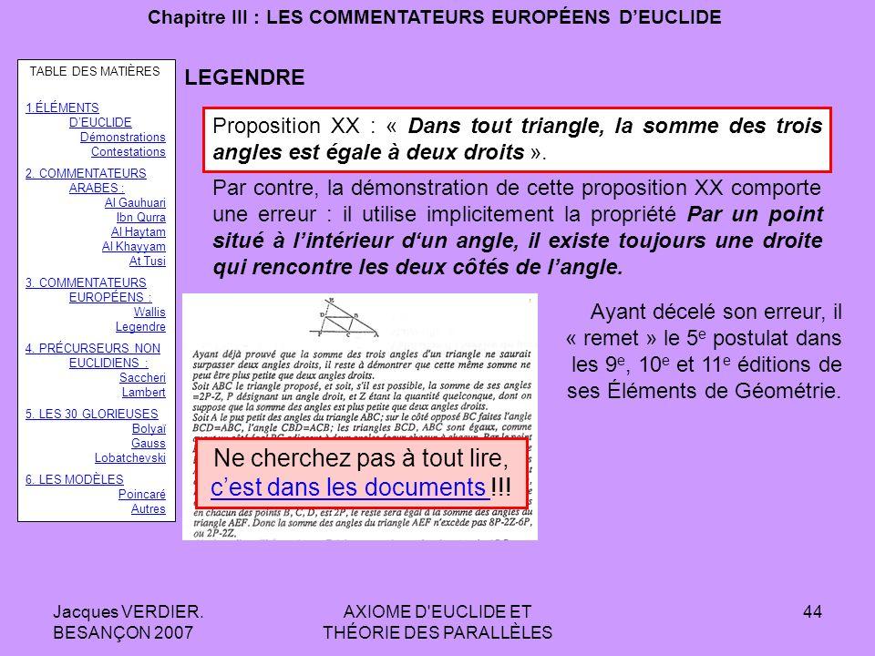 Jacques VERDIER. BESANÇON 2007 AXIOME D'EUCLIDE ET THÉORIE DES PARALLÈLES 43 Chapitre III : LES COMMENTATEURS EUROPÉENS DEUCLIDE LEGENDRE Voici la dém