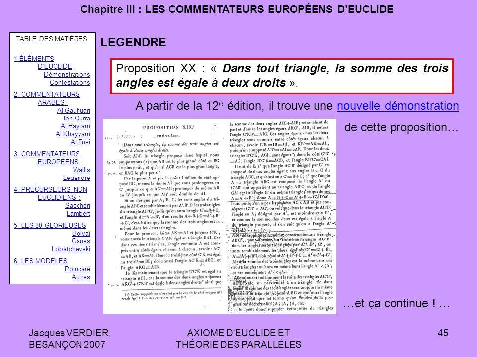 Jacques VERDIER. BESANÇON 2007 AXIOME D'EUCLIDE ET THÉORIE DES PARALLÈLES 44 Chapitre III : LES COMMENTATEURS EUROPÉENS DEUCLIDE LEGENDRE Proposition