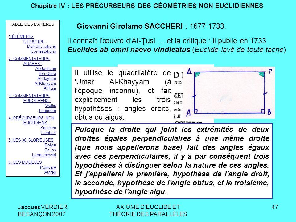 Jacques VERDIER. BESANÇON 2007 AXIOME D'EUCLIDE ET THÉORIE DES PARALLÈLES 46 Chapitre III : LES COMMENTATEURS EUROPÉENS DEUCLIDE LEGENDRE Proposition