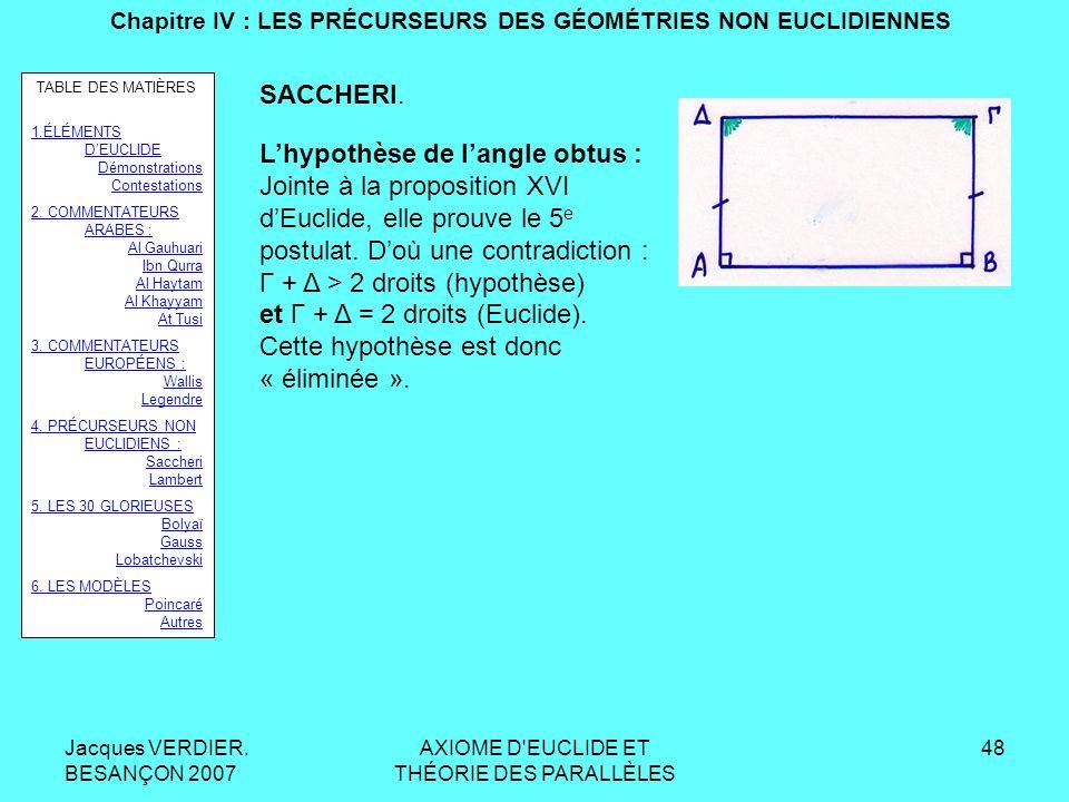 Jacques VERDIER. BESANÇON 2007 AXIOME D'EUCLIDE ET THÉORIE DES PARALLÈLES 47 Chapitre IV : LES PRÉCURSEURS DES GÉOMÉTRIES NON EUCLIDIENNES Giovanni Gi