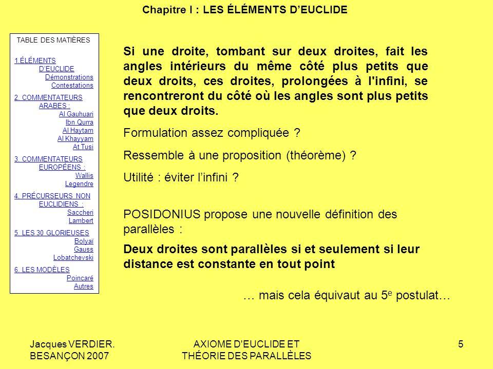 Jacques VERDIER. BESANÇON 2007 AXIOME D'EUCLIDE ET THÉORIE DES PARALLÈLES 4 Chapitre I : LES ÉLÉMENTS DEUCLIDE Si une droite, tombant sur deux droites